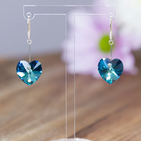 Sterling Silver and Bermuda Blue Swarovski hearts earrings