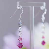 Sterling Silver and  pink Swarovski drop earrings