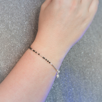 Morse code Love you to the moon and back, sterling silver and hematite bracelet