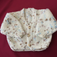 BABY BOY'S CARDIGAN; HAND-KNITTED CABLE MOSS;6-12 months