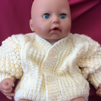 NEWBORN UNISEX CREAM ARAN WOOL MIX CABLE CARDIGAN:0-3 MONTHS