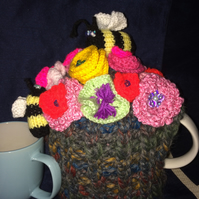 HAND-KNITTED SUMMER GARDEN 'FLOWERS AND BEES' TEA COSY;MEDIUM-LARGE