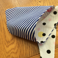 SPOTTY & STRIPED COTTON REVERSIBLE RETRO DOG BANDANA;LARGE