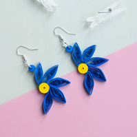 Unique dangle blue flower earrings with bright yellow centre (Goddess Iris)