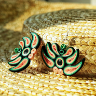 Handmade eco earrings, multicolour, statement, dangle earrings (Chinese Dragon)