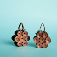 Geometric copper statement earrings, unique eco jewellery (Morocco)