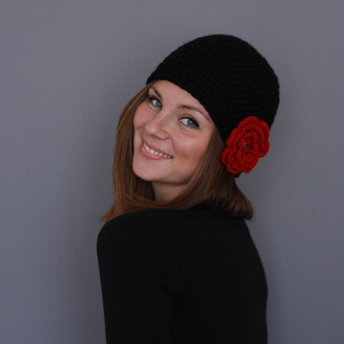 Hand Crocheted Black Beanie Hat With 3 D Red Flower