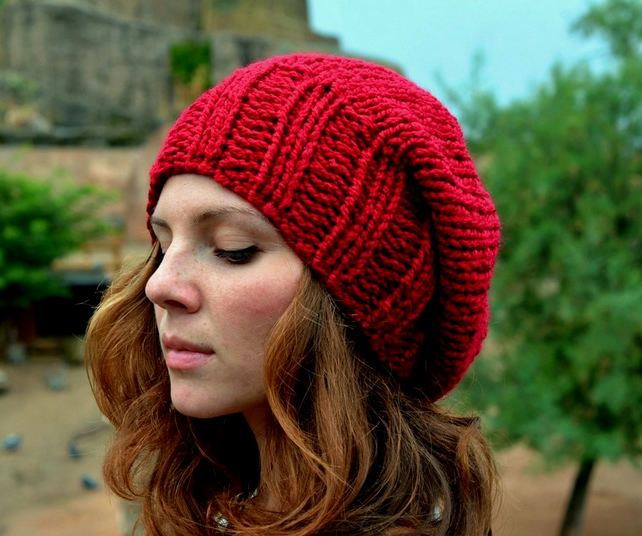 Hand Knit Hat Red Slouchy Hat