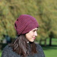 Slouchy Beanie Hat, Women's Slouchy Hat, Winter Hat, Hand Knitted Hat, Berry