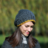 Slouchy Hat, Women's Slouchy Hat, Winter Hat, Hand Knitted Hat, Grey and Yellow