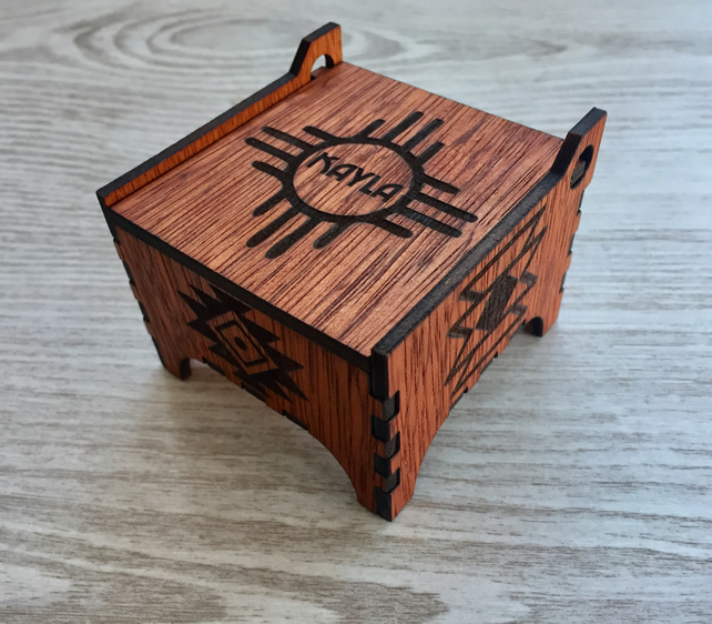 Personalised Small Wooden Jewellery Box, Native American Symbols, Keepsake Box