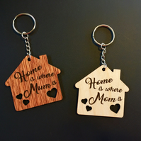 Mother's Day, Keychain, A Gift for Mum, Home is where Mum is, Mum or Mom