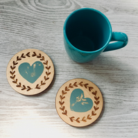 Wooden Coasters, Heart Stamped Coasters, Sage and Antique White, Floral Design