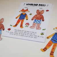 Woodland paper doll kit - fashion craft pack