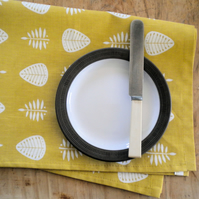 Tea Towel, Linen Union, Leaf Pattern