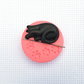 Black Cat Needle Minder with Pink Base. For cross stitching, embroidery, sewing