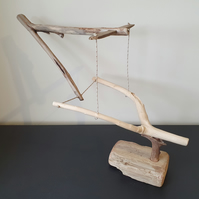 Unique, Sustainable Driftwood Tensegrity Sculpture Titled 'Capture'.