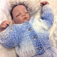 Hand-Knitted Chunky Cardigan Powder Blue 0-3 months