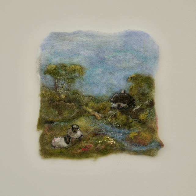 Felt Painting Dales Cottage View with Sheep