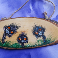 Hand Painted Emu Family Wood Slice.