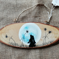 Hand Painted Hare Wood Slice
