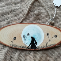 Hand Painted Moon Gazing Hare.