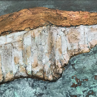 Original Abstract Painting of the Seven Sisters Cliffs, Sussex