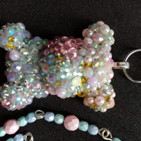 Sparkle Bear Hugs resin, rhinestone beaded rosary chain necklace