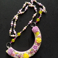 Resin cast Lavender and Buttercups Collar rosary chain necklace