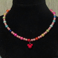 Disney Themed Miracle Bead Necklace with Mickey Mouse charm