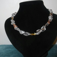 Clear Crackle Crystal Nugget & Chips Necklace