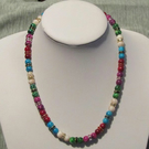 Mottle Glass Bead & Rhinestone Necklace