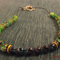 Green Mottle Marble effect necklace