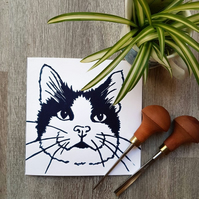 Happy Cat  Handprinted lino print card
