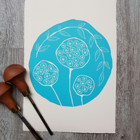 Flower Seed heads Limited Edition hand printed lino print