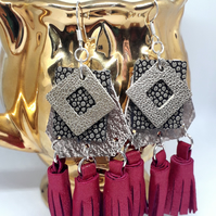 Rose gold and pink leather tassel earrings sterling silver