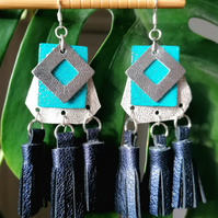 Tri Tassel Leather Earrrings - Blue & Silver (Sterling Silver)
