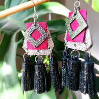 Tri Tassel Leather Earrings - Pink & Black Sterling Silver