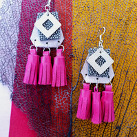 Tri Tassel Leather Earrings - Rose Gold & Pink Sterling Silver