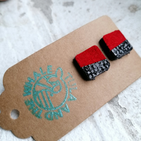 Dual Colour Square Studs - Red & Black