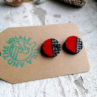 Dual Colour Round Studs - Black & Red