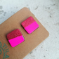 Neon Pink & Rose Chunky Studs