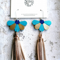 Flower Tassel Leather Earrings - Turquoise & Gold (Sterling Silver)