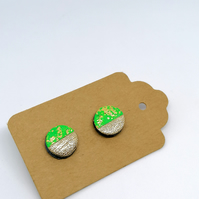 Mini Neon Green & Gold Leaf Chunky Studs