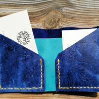 Hand Stitched Royal Blue Reclaimed Leather Wallet