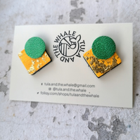 Statement Stud Leather Earrings - Sunshine Yellow, Emerald & Gold Leaf