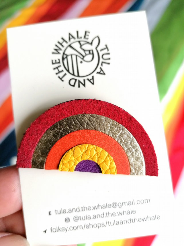 Rainbow Badge, Upcycled Leather Brooch, Colourful Rainbow Gift