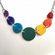 Upcycled Leather Rainbow Necklace, Colourful Gift, Double Sided
