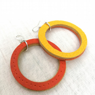 Colour Duo Leather Hoop Earrings - Orange & Yellow, Sterling Silver