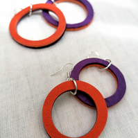 Colour Duo Leather Hoop Earrings - Purple & Orange, Sterling Silver